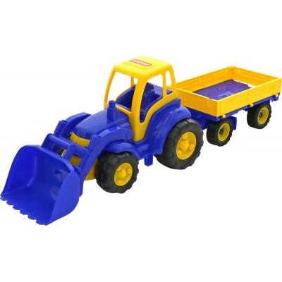 """Игрушечный трактор """"Чемпион"""", трактор с ковшом и прицепом ( в сеточке) Полесье"""