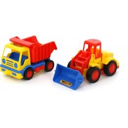 """Машинка самосвал + трактор погрузчик, серии """"Базик"""" (в коробке) Wader Polesie"""
