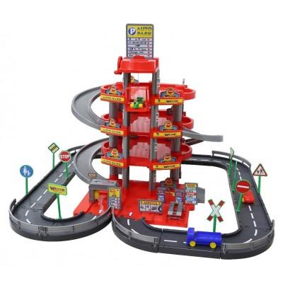 Детская парковка, паркинг 4-уровневый с дорогой и автомобилями, красный (Wader Полесье) 44723