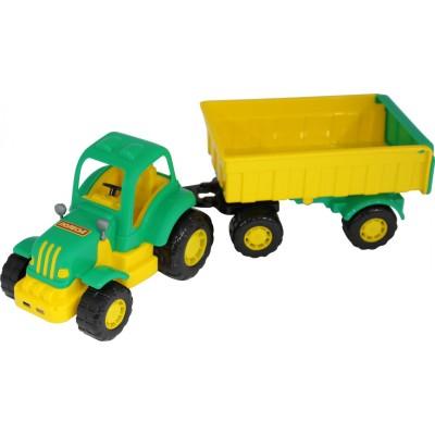 """Детский игрушечный трактор """"Крепыш"""" с прицепом №1 (в сеточке) Полесье"""