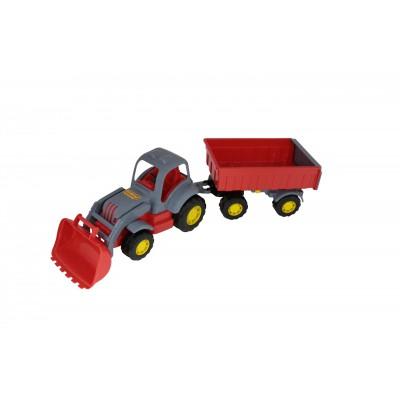 """Детский игрушечный трактор с прицепом и ковшом №1, серия """"Силач"""" (Полесье)"""