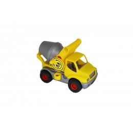 """Машинка бетономешалка """"КонсТрак"""", автомобиль-бетоновоз жёлтый (Wader Полесье)"""