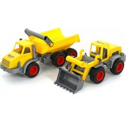 """Машинка самосвал + трактор-погрузчик """"КонсТрак"""" (Wader Полесье)"""