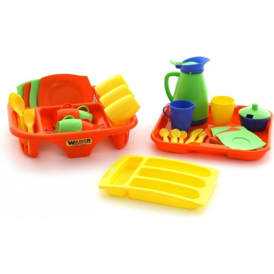 """Набор детской посуды """"Алиса"""" с сушилкой, подносом и лотком на 4 персоны (в сеточке) Полесье"""