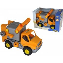 """Машина мусоровоз """"КонсТрак"""", автомобиль коммунальный оранжевый (Wader Полесье)"""