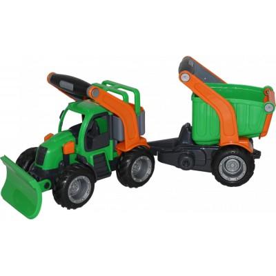 """Детский игрушечный трактор снегоуборочный с полуприцепом""""ГрипТрак"""" (в сеточке) Полесье"""