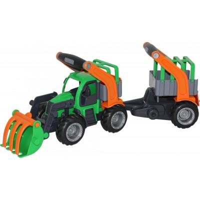 """Детский трактор-погрузчик с полуприцепом для животных """"ГрипТрак"""" (в сеточке) Полесье"""