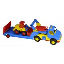 """Машинка трейлер """"КонсТрак"""" + трактор погрузчик """"Базик"""" (Wader Полесье)"""