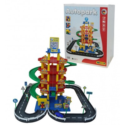 """Детская парковка 5-уровневая """"Autopark"""" с дорогой и автомобилями (Wader Полесье) 38104"""