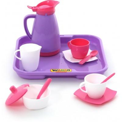 """Набор детской посуды """"Алиса"""" с подносом на 2 персоны (Pretty Pink) Полесье"""