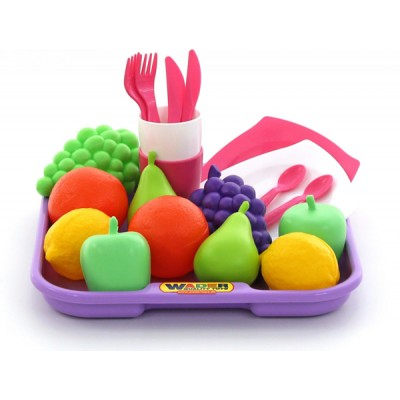 Набор продуктов №2 с посудкой и подносом (21 элемент) Полесье (в сеточке)