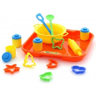 Набор игрушечной детской посуды для выпечки №1 с подносом (в сеточке) Полесье