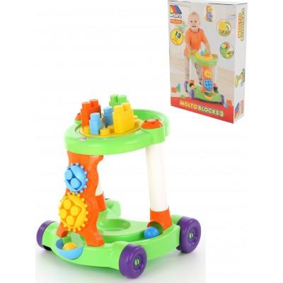 Детская игровая каталка с конструктором (13 элементов) в коробке (зелёная) Полесье