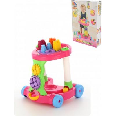 Детская игровая каталка с конструктором (13 элементов) в коробке (розовая) Полесье
