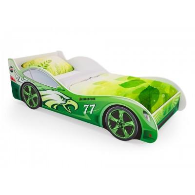 """Детская кровать машина для мальчика """"Зеленая"""" (с ящиками)"""