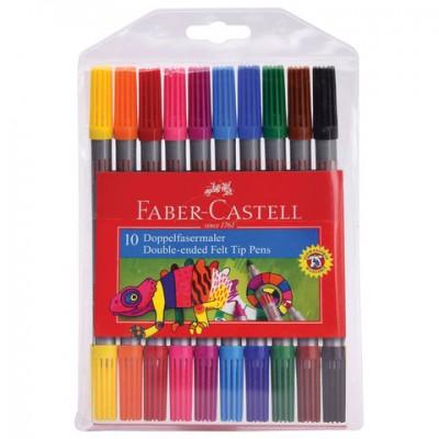 Фломастеры двусторонние FABER-CASTELL, 10 цветов, тонкая/толстая линия письма, ПВХ упаковка, 151110