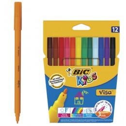 """Фломастеры BIC """"VISA"""", 12 цветов, суперсмываемые"""