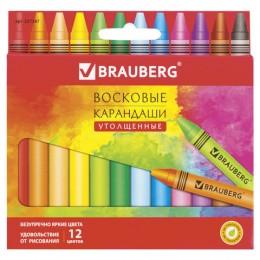 """Восковые карандаши утолщенные BRAUBERG """"АКАДЕМИЯ"""", 12 цветов"""