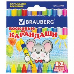 Восковые карандаши BRAUBERG/ПИФАГОР, 12 цветов