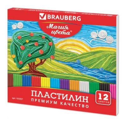 Пластилин классический BRAUBERG, 12 цветов, 240 г, со стеком, высшее качество, картонная упаковка, 103357