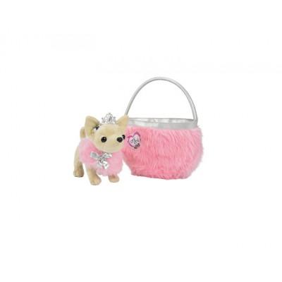 """Плюшевая собачка Chi Chi Love чихуахуа """"Принцесса"""" с розовой пушистой сумкой"""