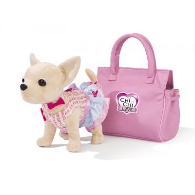 Плюшевая собачка Чихуахуа, в платье, в розовой сумочке